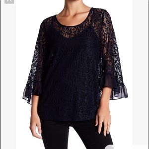 Pleoine bell sleeve lace crew neck blouse